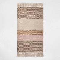 "1'8""X2'10"" Striped Woven Accent Rug Buff Beige - Room Essentials™"