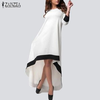 ZANZEA Autumn 2017 Fashion Womens Chiffon Maxi Long Dress Patchwork Asymmetrical Dress 3/4 Sleeve O Neck Vestidos Plus Size