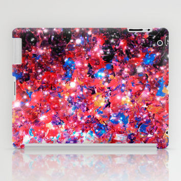 WRAPPED IN STARLIGHT Bold Colorful Abstract Acrylic Painting Galaxy Stars Pink Red Purple Ombre Sky iPad Case by EbiEmporium