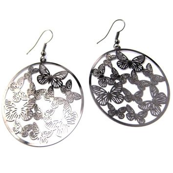 Butterfly Outline Cut Out Disc Shaped Dangle Drop Earrings in Silver | DOTOLY
