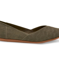 TARMAC OLIVE CHEVRON EMBOSSED SUEDE WOMEN'S JUTTI FLATS