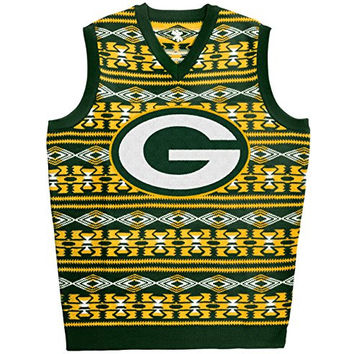 KLEW NFL Green Packers Ugly Sweater Vest, Medium, Green