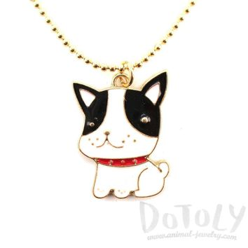 Cute Boston Terrier Puppy Dog Shaped Animal Pendant Necklace | DOTOLY