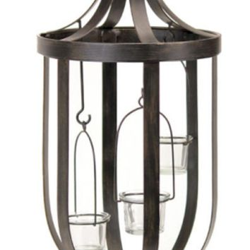 "22"" Decorative Antique-Style Bronze Birdcage Glass Votive Candle Holder"