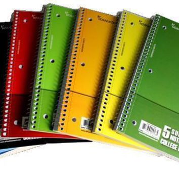 5 Subject College Ruled Notebook -150 Sheets - CASE OF 24