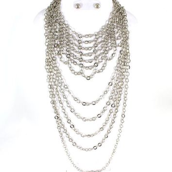 "16"" silver multi layered chain ring link necklace .50"" earrings"