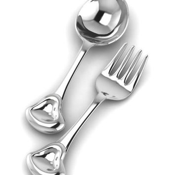 Sterling Silver Sweetheart Spoon & Fork Set by Krysaliis