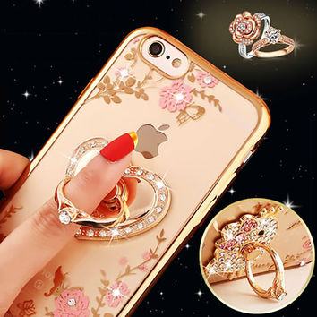 "Luxury Diamond Ring Holder Stand For iphone 6 6S 4.7"" 6 6s plus 5.5"" Phone Cases 3D Flowers Peacock Pattern Capa for Apple 6"