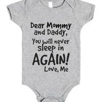 You will never sleep in AGAIN!!!-Unisex Heather Grey Baby Onesuit 00