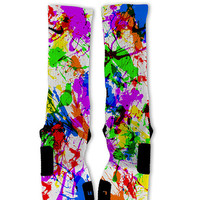 Paint Splatter White Lebron 11 Fast Shipping!! Nike Elite Socks Customized Lebron 11 Techno