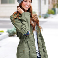 Plain Drawstring Hoodie Trench With Pocket