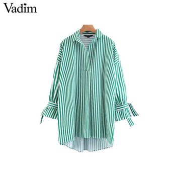 Women Sweet Bow Tie Striped Loose Shirts Over Sized Long Sleeve Turn Down Collar Blouse Ladies Tops