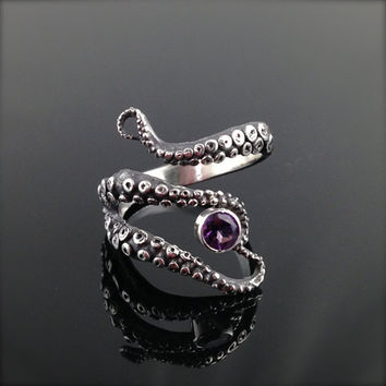Retail Tentacle Ring Octopus Ring Seductive Tentacle Ring in ancient silver Plating purple Rhinestone by Octopus adjustable siz