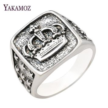 Cool YAKAMOZ New Arrival King Queen Crown Signet Ring for Men Women Vintage Silver Color Carving Stars Punk Party Jewelry GiftsAT_93_12