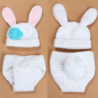 Crochet Baby Bunny Rabbit Hat and Diaper Cover Set Newborn Easter