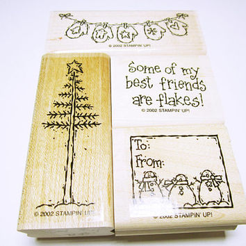 Assorted Christmas Rubber Stamps Christmas Stamps Card Making Scrapbooking Rubber Stamp Supplies Stampin Up CHRISTMAS STAMPS