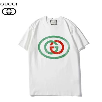 GUCCI Summer New Fashion Bust Letter Print Women Men Sports Leisure Top T-Shirt White