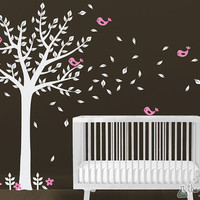 Childrens Wall Decals - Tree Wall Decal - One Color Tree and Birds Wall Art Set