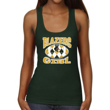 UAB Blazers Ladies Argyle Girl Junior's Ribbed Tank Top - Green