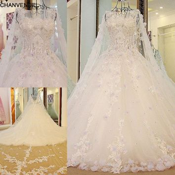 LS54770  Luxury Bridal Dress With Long Cape Ball Gown Tulle Corset Back Bling Luxury Wedding Dress Long Train