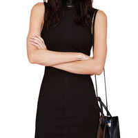 Leather High Neck Sleeveless Bodycon Mini Dress with Side Slit