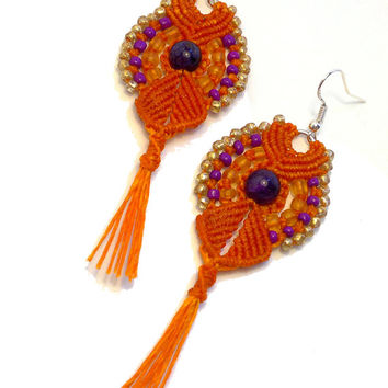 Handmade macrame earrings - cleopatra earrings made with wax cord and seed beads