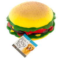 Giant Burger Squeaky Dog Toy: Case of 4