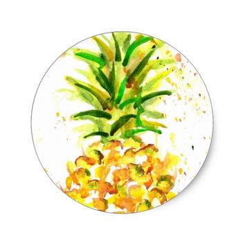 Water Color Pineapple Splash Classic Round Sticker