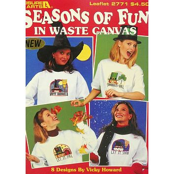 Seasons of Fun in Waste Canvas - Counted Cross Stitch Leaflet - Leisure Arts