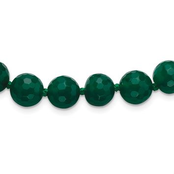 925 Sterling Silver 10-10.5mm Faceted Emerald Green Agate Necklace 18 Inch