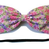 Pink Fantasy Dream Garden Floral Hair Bow- Barrette, Alligator Clip, or Headband (Headband)