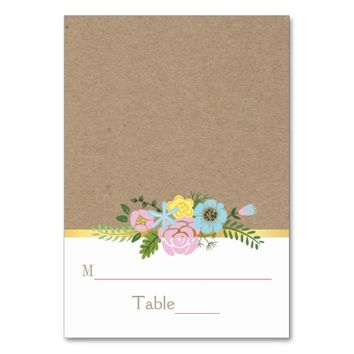 Pink, aqua floral craft paper wedding place card table card
