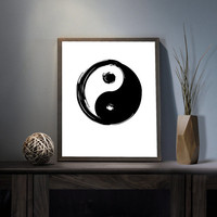 Ying Yang Symbol Digital Art Print - Inspirational Karma Wall Art, Motivational As Above As Below Quote Art, Printable Chinese Typography