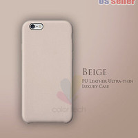 "New Luxury PU Leather Ultra-thin Case For Apple iPhone 6 4.7"" / Plus 5.5"" Beige"