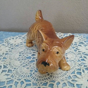 Adorable Vintage Brown Terrier Dog Figurine Made In Japan Vintage Dogs
