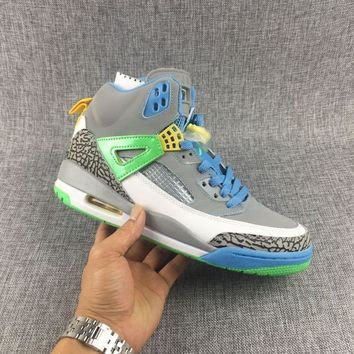 [Free Shipping]Nike Air Jordan Spizike GS Easter Stealth Poison Green Blue Yellow Xi 317321 056 Basketball Sneaker