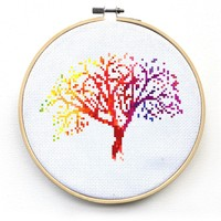 Cross Stitch Pattern Modern - Rainbow Tree Cross Stitch