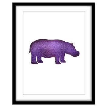 Nursery Art, Purple Mosaic Hippo Printable Poster, Kid's Art, Colourful Animal Wall Art