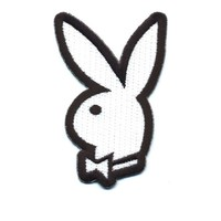 """Embroidered Iron On Patch - White Bunny with Bow 3"""" Patch"""