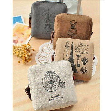 Women Lady Girls Retro Coin Bag Canvas Zipper Holder Wallet Purse Case Pouch