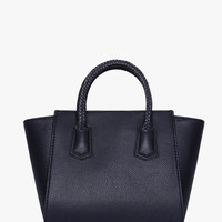 Black Faux Leather Braided Tote Mini Bag