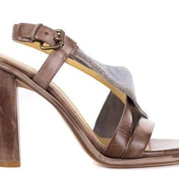 Brunello Cucinelli Brown Distressed Leather Beaded Sandals