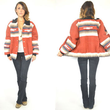 striped MEXICAN BLANKET indian southwestern navajo BOMBER jacket coat, extra small-medium