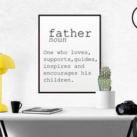 DEFINITION O FATHER Funny Wall Art Printable Definition Funny Gift For Fathers Poster Definition Print Definition Typography Fathers Day Art