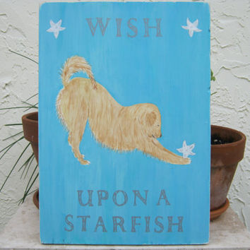 Golden Retriever Art Beach Sign Dog Wood Beach Sign WISH UPON a STARFISH Hand Painted Signage / Plaque Wall Hanging