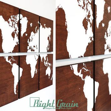 Large World Map Wall Art on Dark Stained Wood Grain Panels - Home Decor