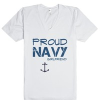 Proud navy girlfriend-Unisex White T-Shirt