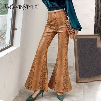 TWOTWINSTYLE Print PU Leather Flare Pants For Women High Waist Large Sizes Women's Trousers Vintage Fashion New