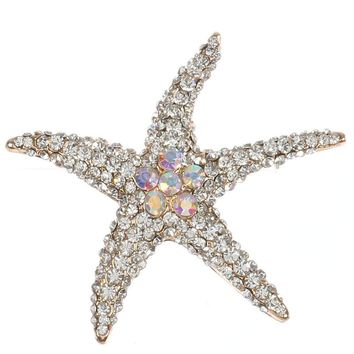 Aurore Boreale Pave Crystal Stone Starfish Metal Pin And Brooch