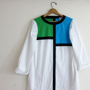 Vintage avant garde NR1 Ned Gould smock dress / Green, blue and white color block Mondrian Dress / MOD